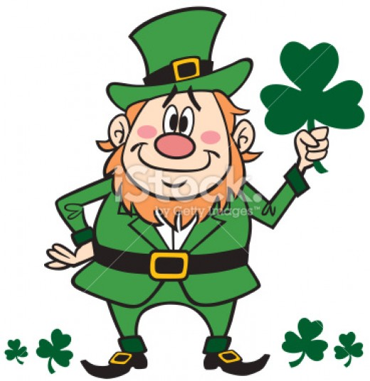 A Leprechaun holding a shamrock  isn't that cute.