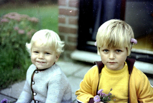 With lil bro at my grandparents' bungalow in the woods near Ommen. The Ommen Woods and the many adventures we had there are at the core of the Wyrde Woods.