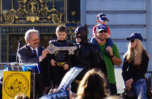 Batkid gets the key to the city from Mayor Ed Lee
