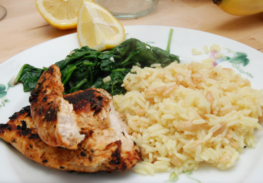 Grilled chicken breast is a delicious, inexpensive source of lean protein.