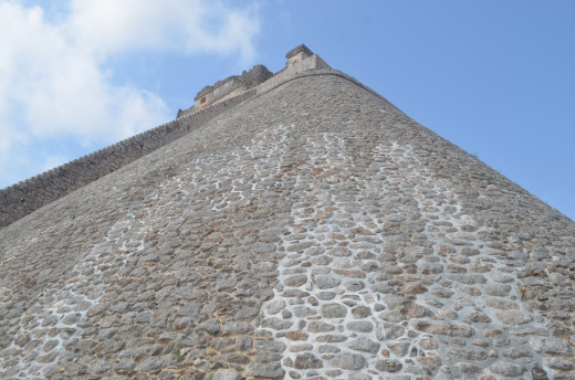 Looking up from the base of the Pyramid of the Magician.
