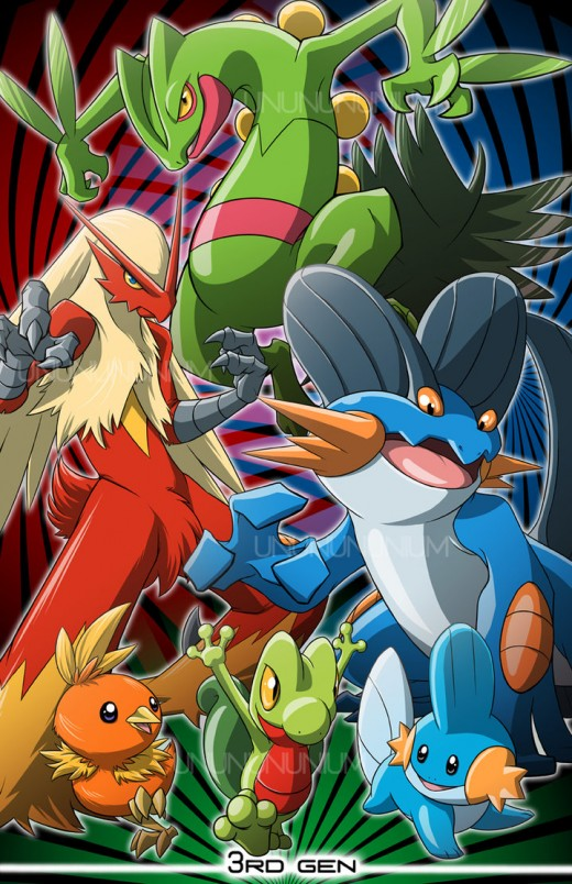 The Pokemon Blaziken, Sceptile, and Swampert, along with their base forms