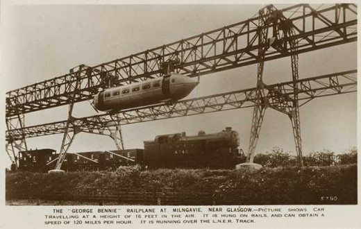 An ambitious project that eventually bankrupted its inventor, George Bennie. The futuristic Railpane would have seen propeller-driven carriages suspended above existing rail lines and provide a high-speed passenger service.