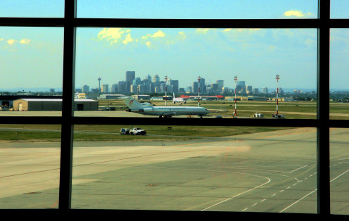 View of Downtown Calgary from Calgary International Airport
