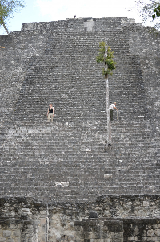 The taller of the two pyramids at Calakmul