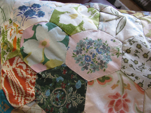 Patchwork Cushion - each hexagon tells a story