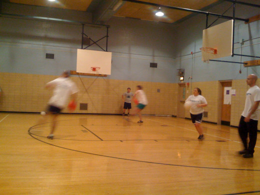A fast-paced game of dodgeball will leave even people in good shape tired.