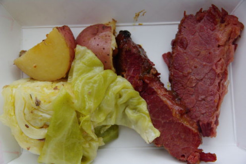 Serve corned beef or smoked pork with cabbage.
