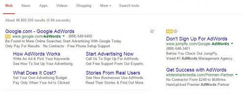 AdWords creates advertisements that appear next to regular Google search results
