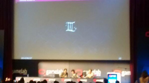 Yu Suzuki's gamelab presentation has a slide with a '3' on it. Shenmue Font.