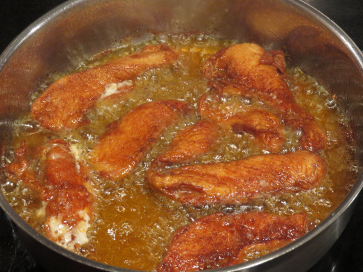 Fry chicken. For a healthy version, roast, bake or grill.