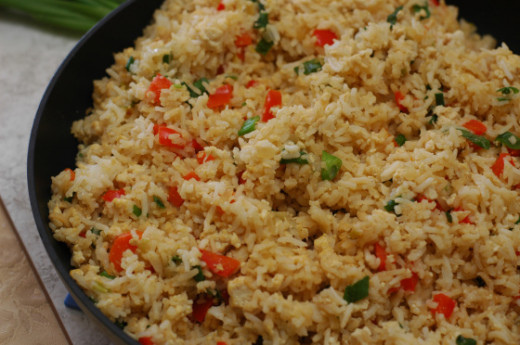 Sauteed rice with vegetables, a simple yet pleasing side dish to any meal