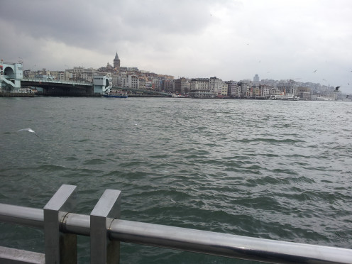 From the Galata bridge, view of the Bosphorous with the Asian side of the city