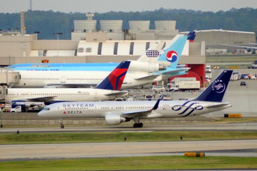 Delta, Korean, KLM Airlines and World Air cargo at Atlanta Georgia International Airport
