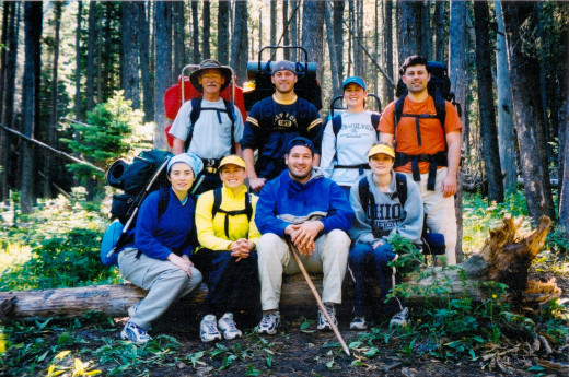 Hiking in Montana, top left Joe, James, Mark, Phil; Lower Left Shannon, Kim Mike and Melissa