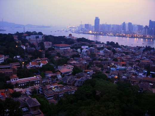 Gulangyu in foreground with Xiamen business district across river.