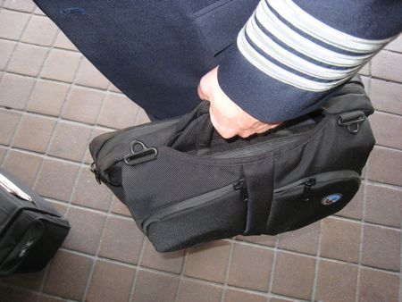 Captain's flight bag.