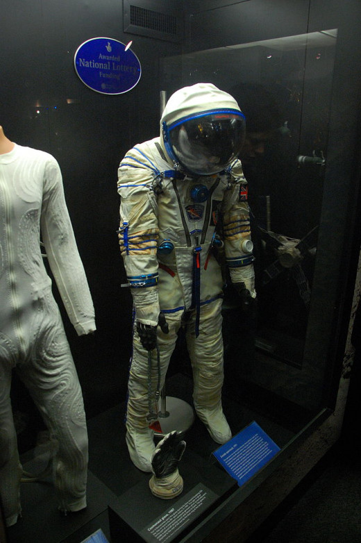 A spacesuit on display at the Science Museum.