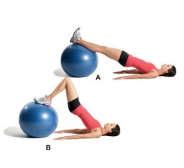 hamstring exercise with the balance ball