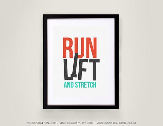 Run Lift Stretch motivational poster in run black and aqua print
