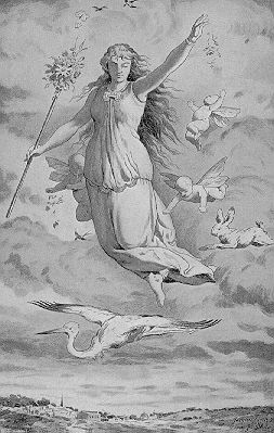 Eostre was the ancient Germanic goddess of spring; her festival was an earlier precursor to today's Easter holiday.