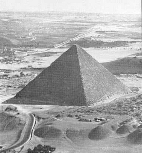 The Great Pyramid of Giza stands on the northern edge of the Giza Plateau, located about 10 miles west of Cairo.