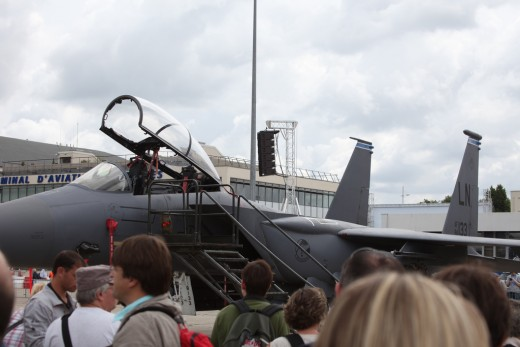 McDonnell Douglas F-15 Eagle USAF at Paris Air Show in Le Bourget Airport. Just about everybody is interested in aviation