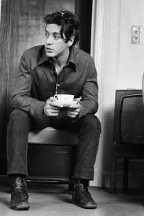 A young Sal Mineo enjoys a cup of coffee on the set of one of his films