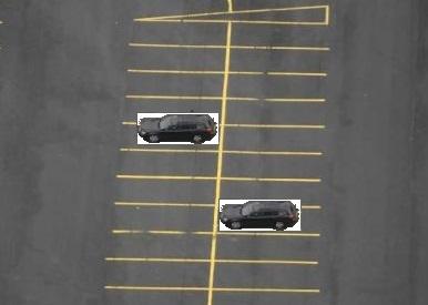 Car on left is rear bumper and rear wheels.  Car on right is front bumper and front wheels.