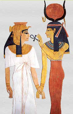 Isis giving the ankh to Nefertari
