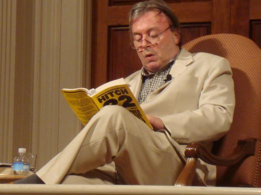 "Hitchens reading his memoir ""Hitch-22"" (2010)."