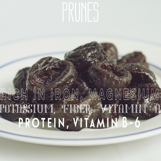 Every 100 g of prunes contain 0.9 mg of iron.