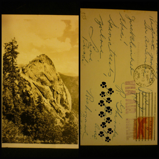 Moro Rock - Black and White - Postcard - 1948