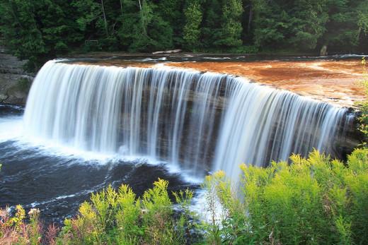 The Upper Tahquamenon Falls in Tahquamenon State Park.