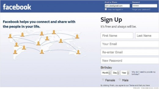 A facebook sign in page