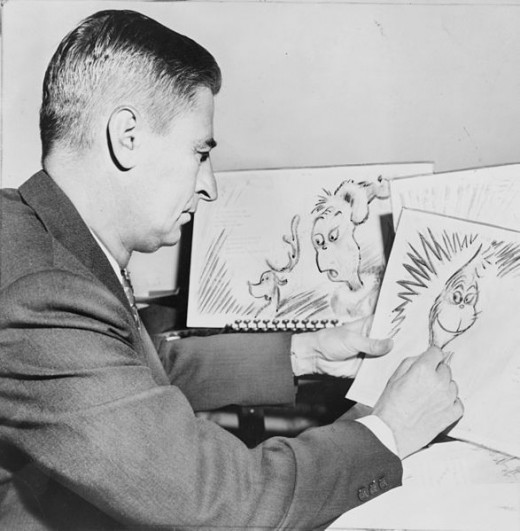 Ted Geisel working on the Grinch...