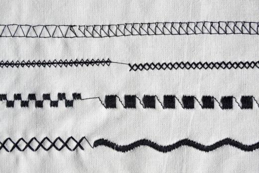 Samples of machine stitching