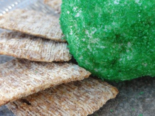 Cheese ball rolled in green sugar for St. Patrick's Day ... or just for Spring.