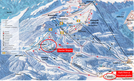 Image courtesy of http://zugspitze.de/en/winter, with added circles for clarifications of parking and starter slopes