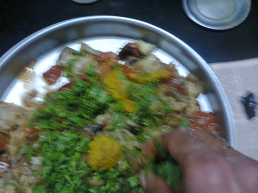 mix again thoroughly after adding chili- ginger paste, coriander leaves and salt