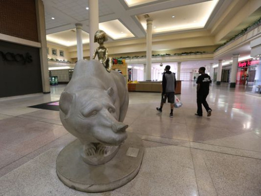 "NORTHLAND: ""The Boy and The Bear"" statue welcomed shoppers to the very first enclosed mall in America."