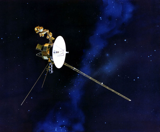 Artist's concept of Voyager in flight.  The spacecraft's closest approach to Uranus was  on January 24, 1986, when it came within 50,600 miles (81,500 kilometers) of Uranus's cloud tops.  Voyager 2 also investigated the planet's ring system.