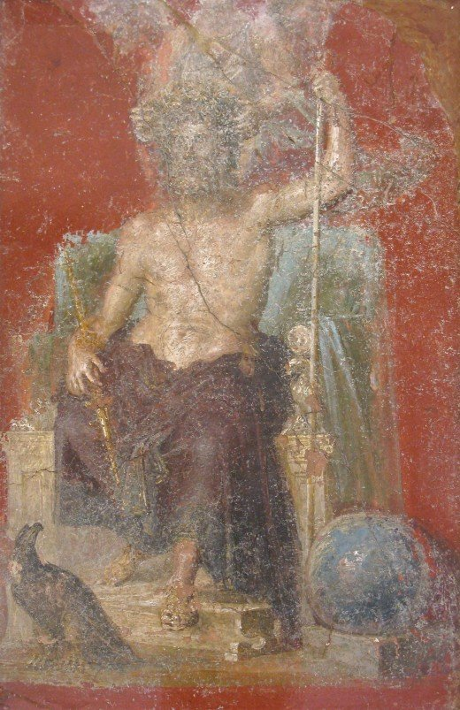 A wall painting depicting the Roman god, found in Pompeii, with eagle and globe.  He was seen as the king of the gods, and was the chief deity of Roman state religion until Christianity became the dominant religion.