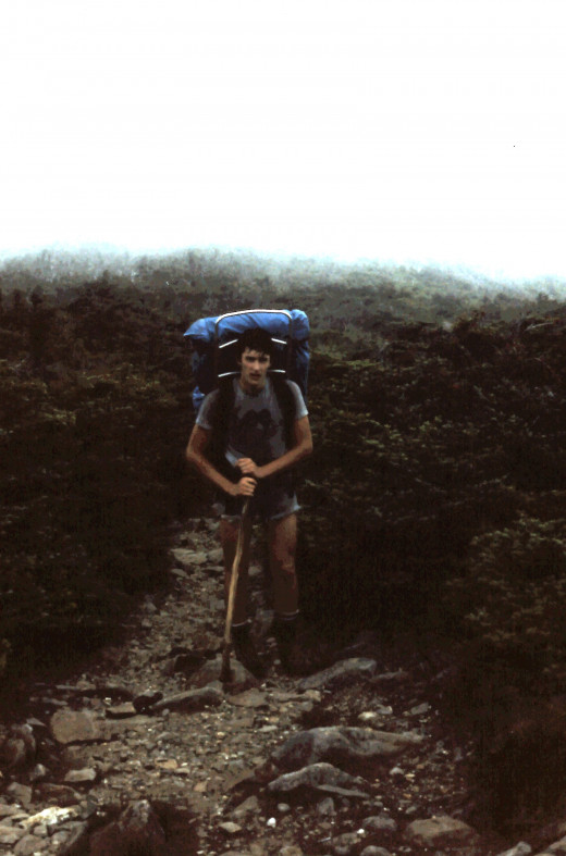 Hiking up Mt. Moosilauke on a cool misty day.