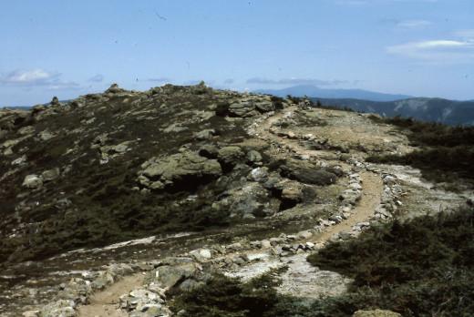 The trail along the Franconia Ridge.