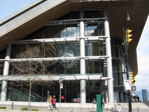 This is the side of the Vancouver Convention Centre building where the TED conference is held. The large, revolving globe in the building is part of the convention centre, but it could also symbolize the world of new ideas presented by TED.