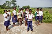 school children walking bare foot