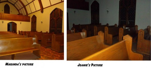 These pictures were taken the same time with 2 different cameras, one flash one not flash. Notice the orb is in the same pew in both pictures. A but, Dust particle, or condensation drop would not have stayed still that long to be captured by 2 camera