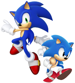 "The ""modern"" (left) and ""classic"" (right) renditions of Sonic the Hedgehog."