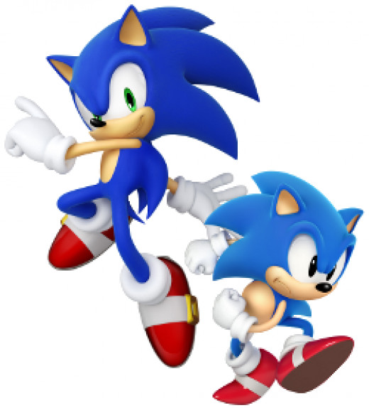 """The """"modern"""" (left) and """"classic"""" (right) renditions of Sonic the Hedgehog."""